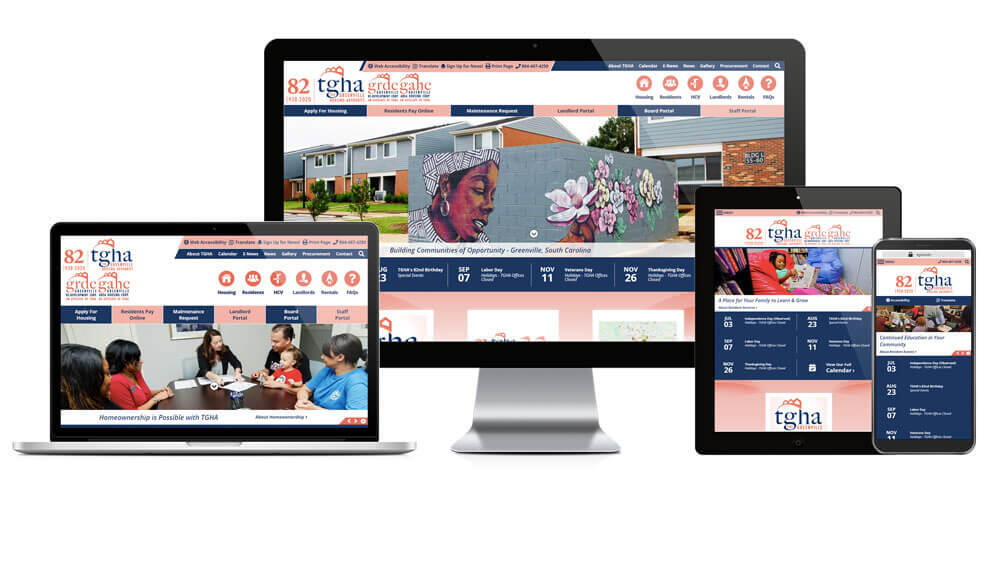Greenville Housing Authority website displayed on four different devices.