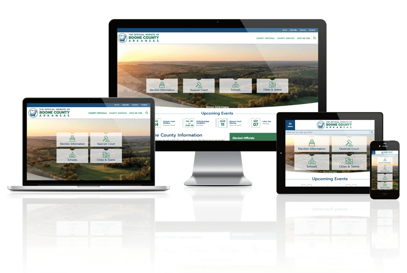 Responsive screen mockup of Boone County, AR Website