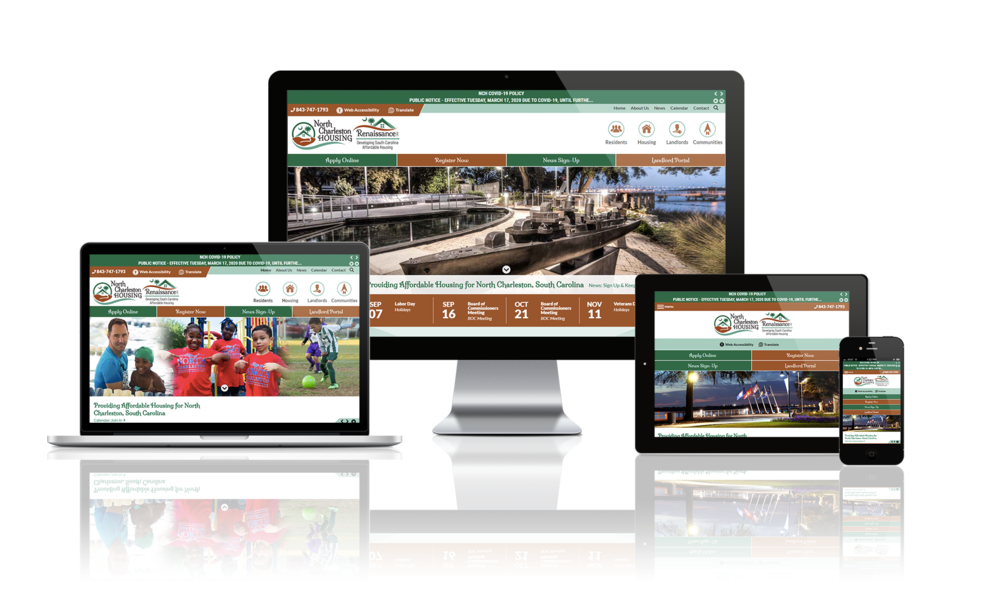 North Charleston Housing Authority website displayed on four different devices.