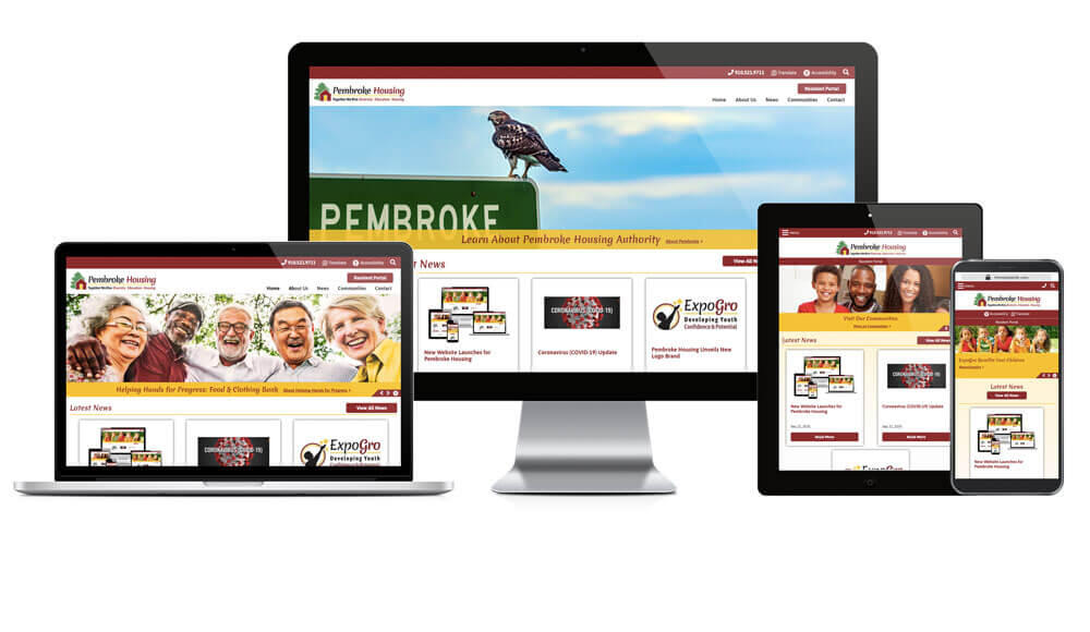 Pembroke Housing Authority website displayed on four different devices.