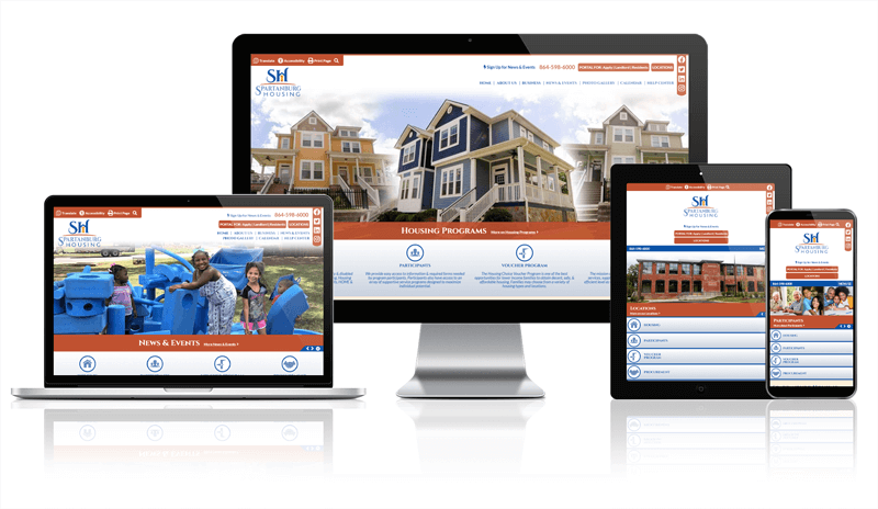 Spartanburg Housing Responsive screen mockup