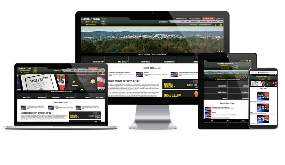 Lauderdale County Sheriff website responsive screen mockup.