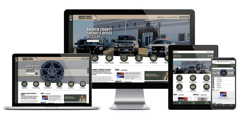 Andrew County Sheriff website responsive screen mockup.